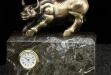 Antique Brass Bull On Green Marble #BB-RQ250B
