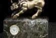 Antique Brass Bull On Green Marble #BB-RQ250B