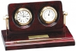 Rosewood and Brass Clock : Thermometer Desk Set #DT-Q060
