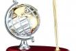 Rosewood pen base with metal globe #DT-RWS72