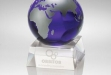 Blue Globe w Crystal Base Award #JD-CRY6532L