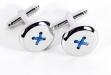 Button Design Rhodium Plated Cuff Links