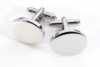 Oval Rhodium Plated Cufflinks