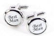 Rhodium Plated Cuff Links with Best Man