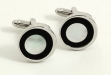 Rhodium Plated Cuff Links w: Black & Mother of Pearl Round Pattern
