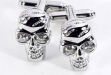 Rhodium Plated Cuff Links w: Crystal Skull