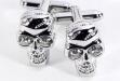 Rhodium Plated Cuff Links w: Crystal Skull