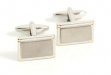 Rhodium Plated Cuff Links w: Gold Accents
