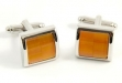 Rhodium Plated Cuff Links w: Orange Stone