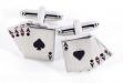 Rhodium Plated Cufflinks w: 4 Aces