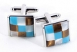 Rhodium Plated Cufflinks w: Blue Semi Precious Stones