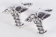 Rhodium Plated Cufflinks w: Caduceus