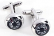 Rhodium Plated Cufflinks w: Compass