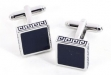 Rhodium Plated Cufflinks w: Navy Blue Enamel