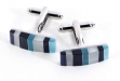 Rhodium Plated Cufflinks w: Semi Precious Multi Stones