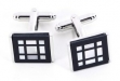 Rhodium Plated Cufflinks w: Square Pattern