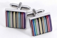 Rhodium Plated Cufflinks w: Stripes Design