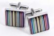 Rhodium Plated Cufflinks w: Stripes Design