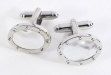 Rhodium Plated Oval Cufflinks w: Mother of Pearl