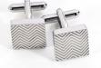 Square Wave Design Rhodium Cufflinks