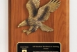 Walnut Piano Finish Plaque w Eagle Casting , Brass Engraving Plate #DT-WP222