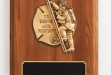 Walnut Piano Finish Plaque w Fireman Casting #DT-AT46