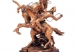Cowboy with Two Horses Copper Figurine - 13.5W x 12.5H #BC-CD786