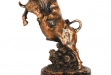 Fighting Bull-Antique Copper w Marble Base #BC-DC703
