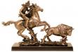 Indian Catching Buffalo Antique Bronze Figurine - 17W x 11H #BC-DC1447